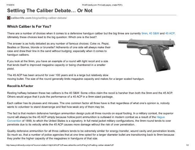 Settling the caliber debate… or not