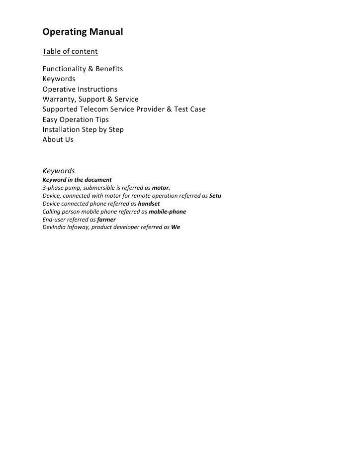 OperatingManualTableofcontentFunctionality&BenefitsKeywordsOperativeInstructionsWarranty,Support&ServiceSu...