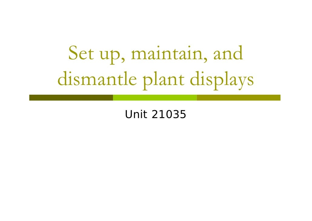 Set Up, Maintain, And Dismantle Plantpowerpoint Pdf