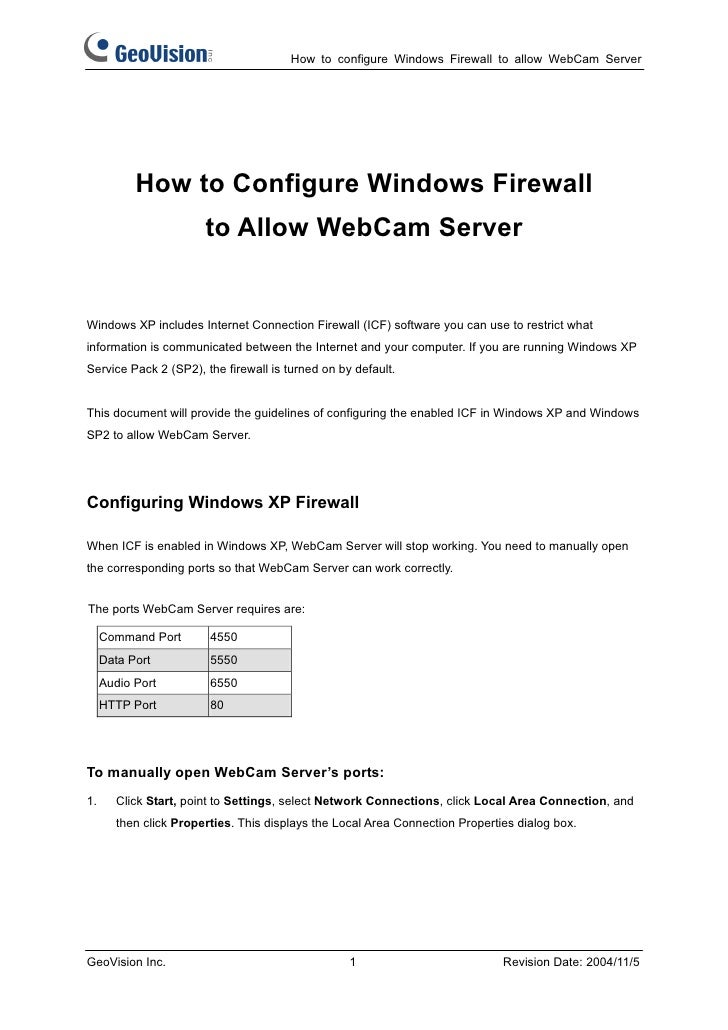 How to configure Windows Firewall to allow WebCam Server           How to Configure Windows Firewall                      ...