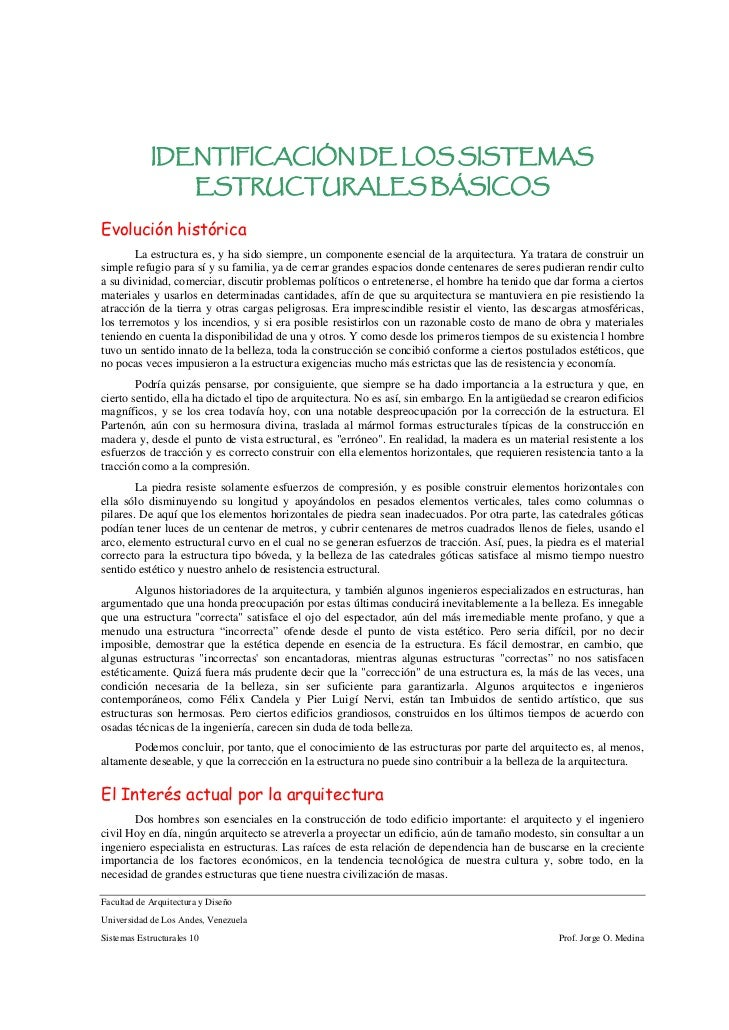 IDENTIFICACIÓN DE LOS SISTEMAS                        ESTRUCTURALES BÁSICOSEvolución histórica        La estructura es, y ...