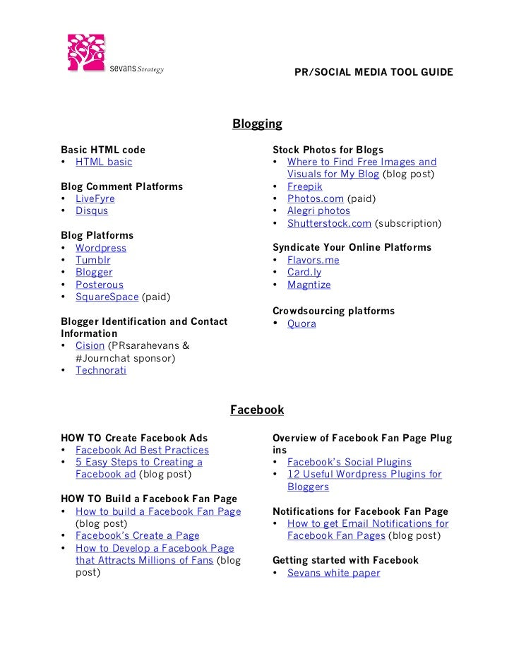 PR/SOCIAL MEDIA TOOL GUIDE	                                       BloggingBasic HTML code       ...