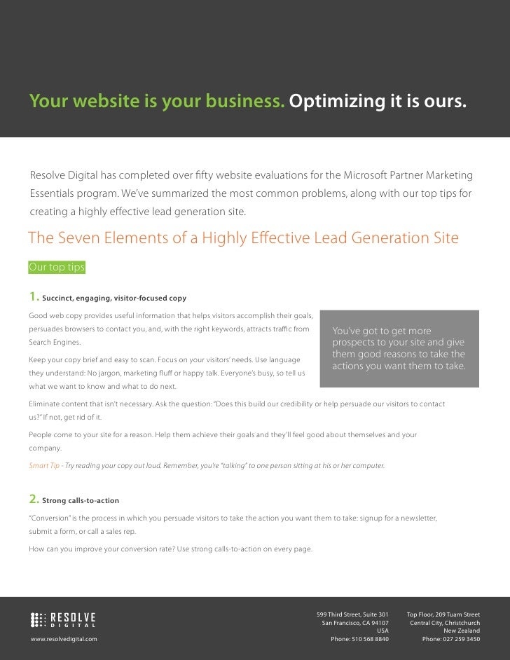 Your website is your business. Optimizing it is ours.   Resolve Digital has completed over fifty website evaluations for th...