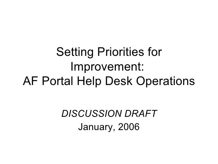 Setting Priorities for Improvement:  AF Portal Help Desk Operations DISCUSSION DRAFT January, 2006