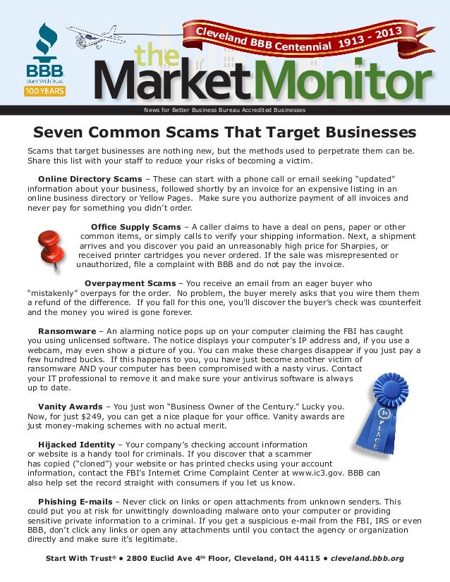 the  Cleve lan  013 3-2 d BBB Centennial 191  MarketMonitor News for Better Business Bureau Accredited Businesses  Seven C...