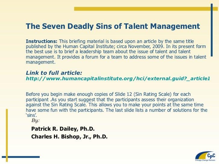 Seven Deadly Sins Briefing Presentation
