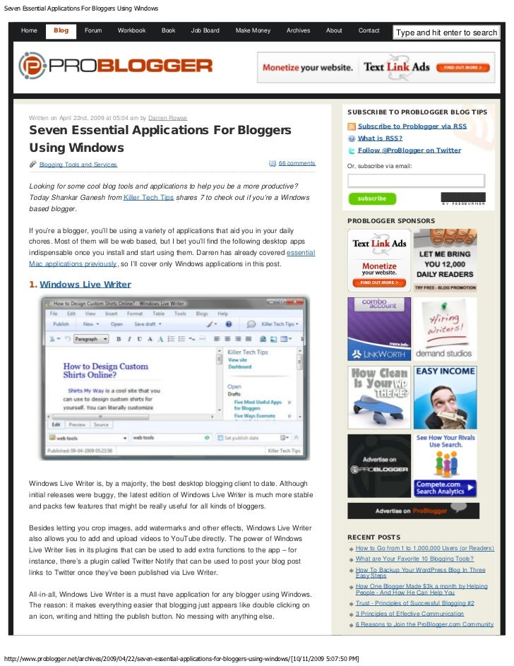 Seven Essential Applications For Bloggers Using Windows         Home       Blog       Forum          Workbook       Book  ...