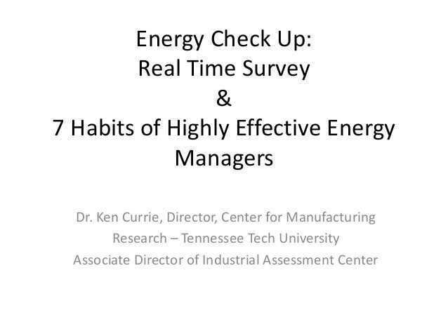 Seven Habits of Highly Effective Energy Managers