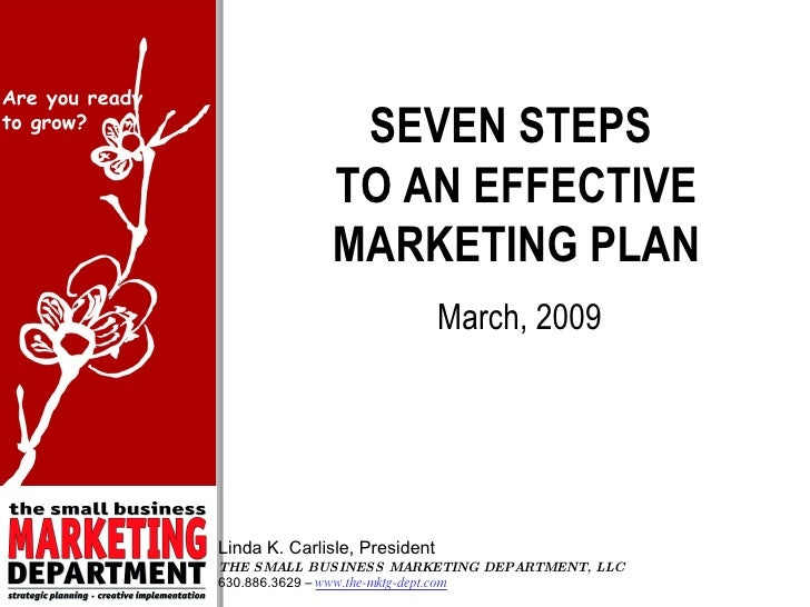SEVEN STEPS  TO AN EFFECTIVE MARKETING PLAN March, 2009 Linda K. Carlisle, President THE SMALL BUSINESS MARKETING DEPARTME...