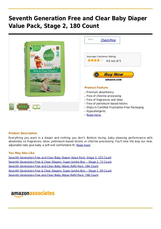 Seventh generation free and clear baby diaper value pack, stage 2, 180 count