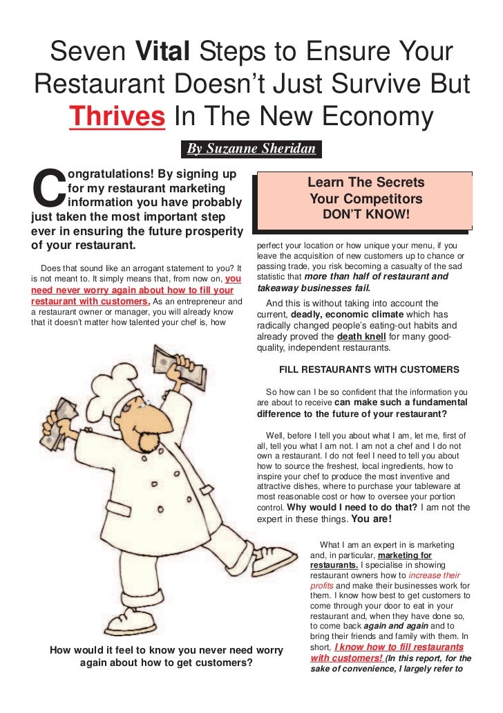 Seven Vital Steps to Ensure YourRestaurant Doesn't Just Survive But  Thrives In The New Economy                           ...
