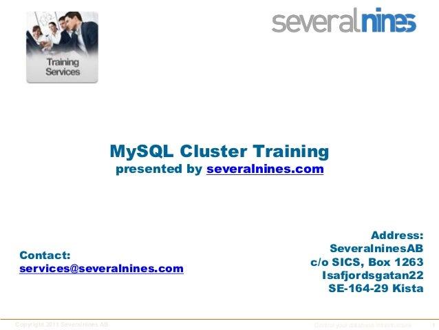 Severalnines Self-Training: MySQL® Cluster - Part VIII