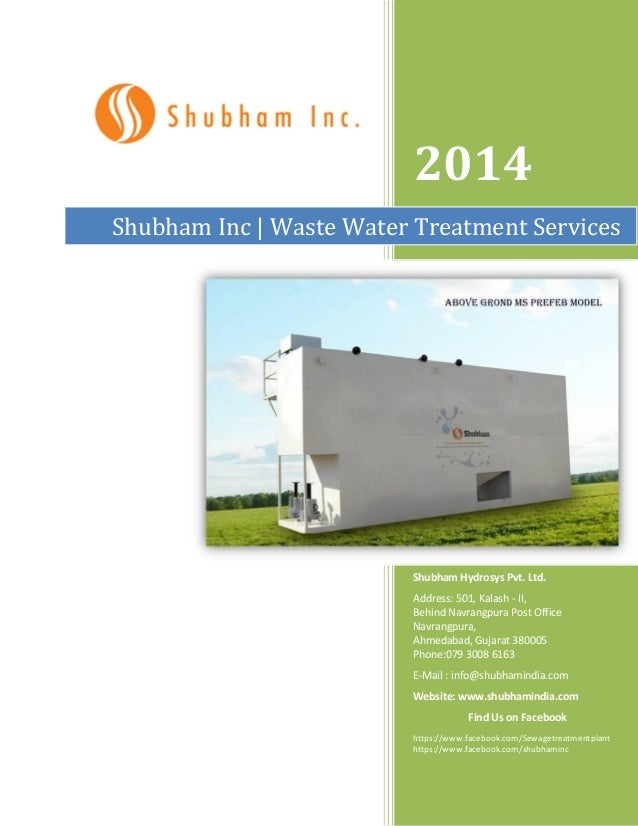 2014 Shubham Inc | Waste Water Treatment Services  Shubham Hydrosys Pvt. Ltd. Address: 501, Kalash - II, Behind Navrangpur...
