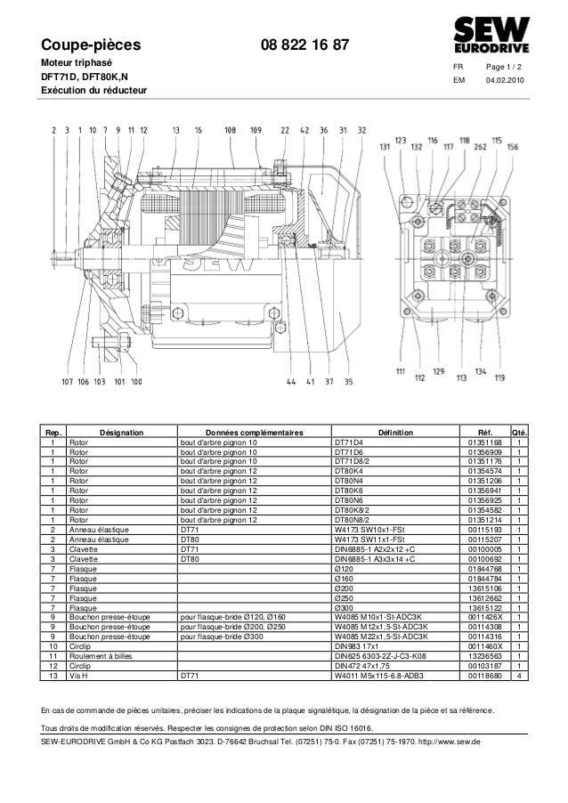 Coupe-pièces 08 822 16 87 Moteur triphasé FR Page 1 / 2 DFT71D, DFT80K,N EM 04.02.2010 Exécution du réducteur En cas de co...