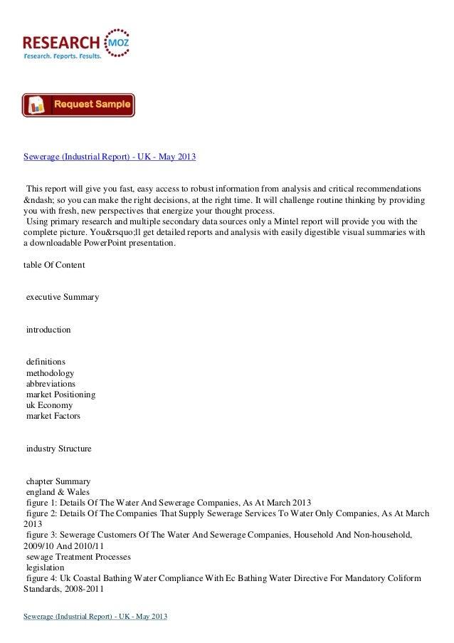 Sewerage Market (industrial report)  uk - may 2013