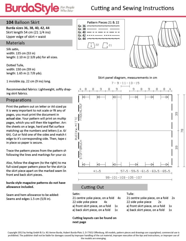 Skirt pattern in sewing
