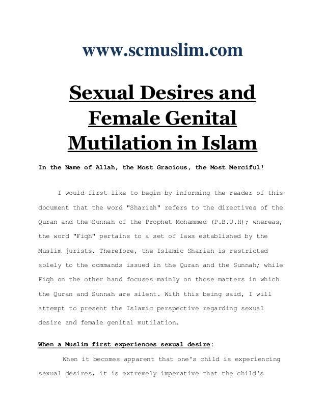 Sexual desires and female genital mutilation in islam www.scmuslim.com