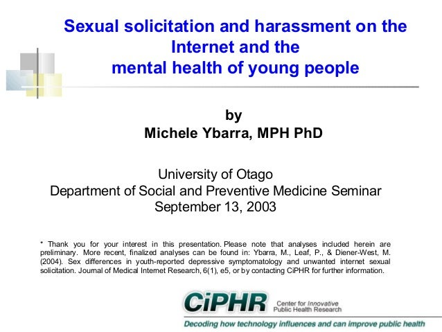 Sexual solicitation and harassment on the Internet and the mental health of young people