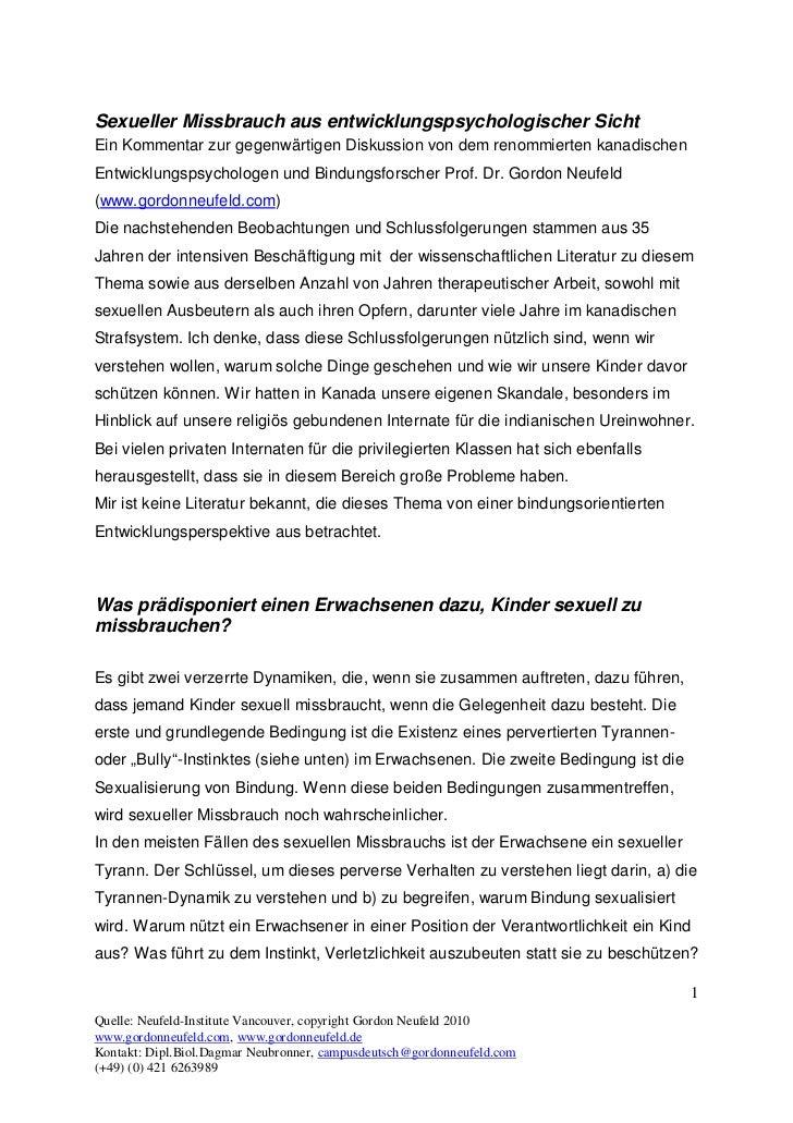 Sexueller Missbrauch aus entwicklungspsychologischer SichtEin Kommentar zur gegenwärtigen Diskussion von dem renommierten ...