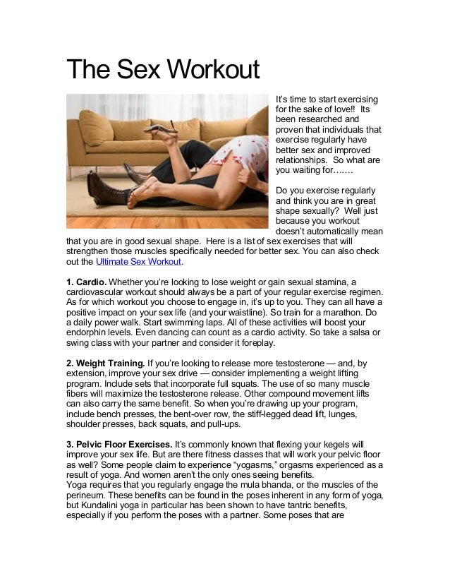 The Sex Workout                                                        It's time to start exercising                      ...