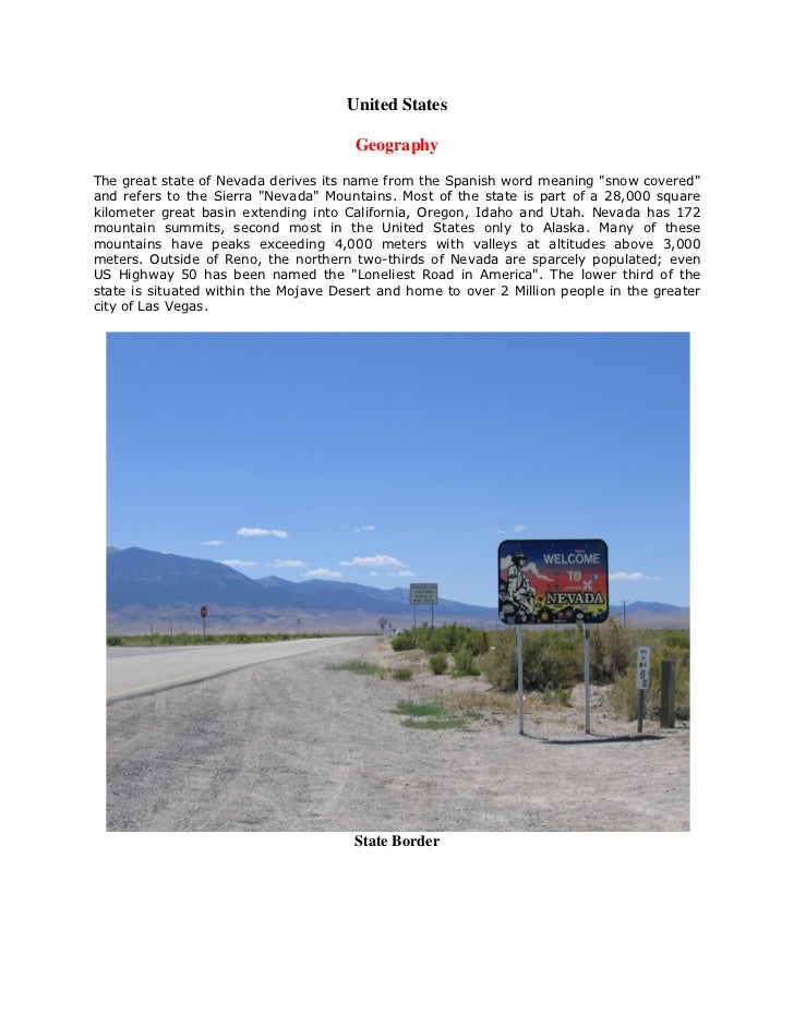 United States                                       GeographyThe great state of Nevada derives its name from the Spanish w...
