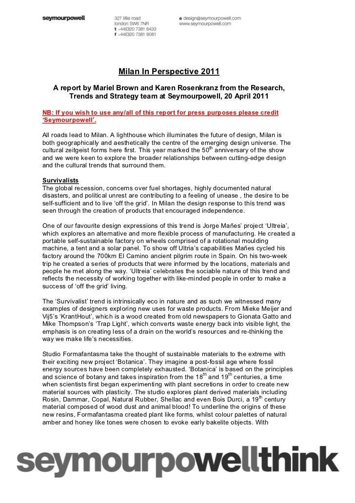 Milan In Perspective 2011   A report by Mariel Brown and Karen Rosenkranz from the Research,       Trends and Strategy tea...