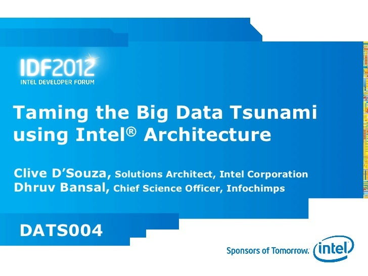 Taming the Big Data Tsunamiusing Intel® ArchitectureClive D'Souza, Solutions Architect, Intel CorporationDhruv Bansal, Chi...