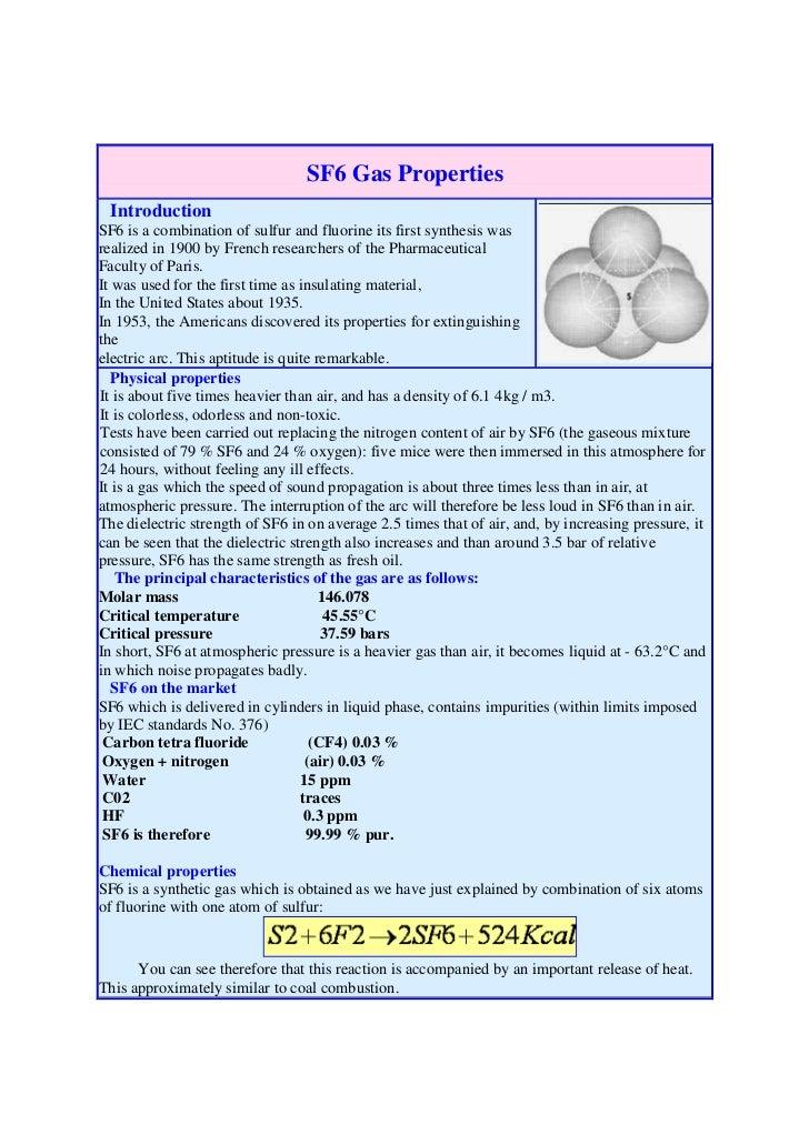 Sf6 gas properties