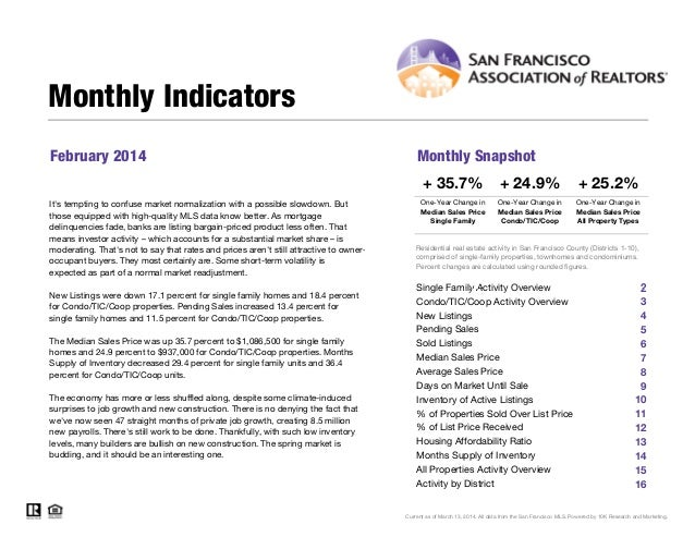 February 2014 Monthly Snapshot One-Year Change in One-Year Change in Median Sales Price Single Family Median Sales Price C...