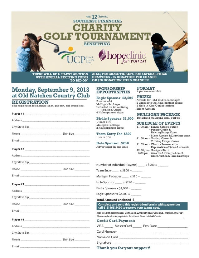 SOUTHEAST FINANCIAL BENEFITING THE 12 TH ANNUAL CHARITY GOLF TOURNAMENT Monday, September 9, 2013 at Old Natchez Country C...