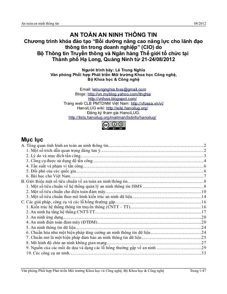 SFD Hà Nội 2012 - Lê Trung Nghĩa - An toàn thông tin for CIO @ Quảng Ninh