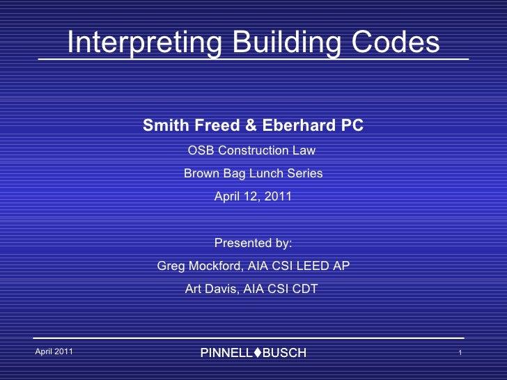 Oregon Building Code Interpretation 2011