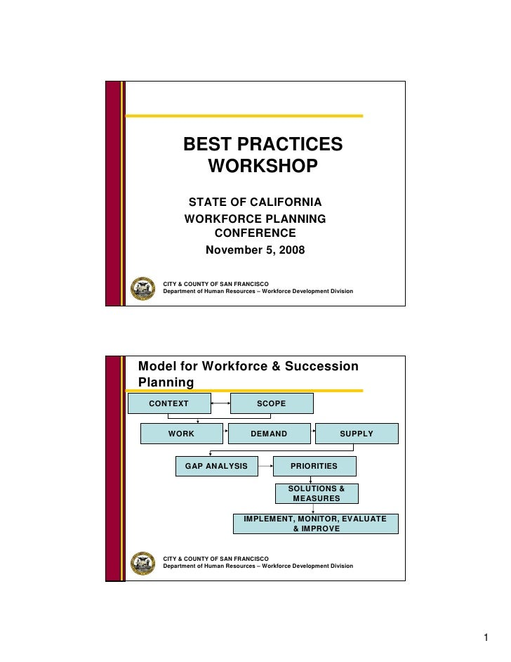 BEST PRACTICES            WORKSHOP          STATE OF CALIFORNIA          WORKFORCE PLANNING             CONFERENCE        ...