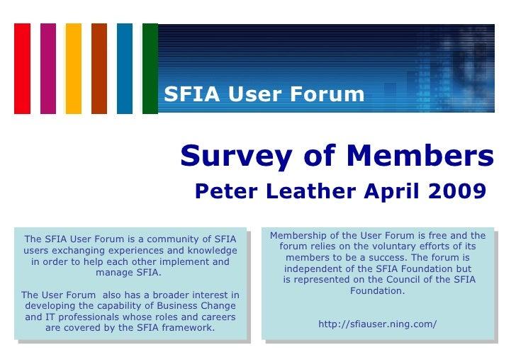 Using SFIA - SFIA User Forum Survey Summary Report