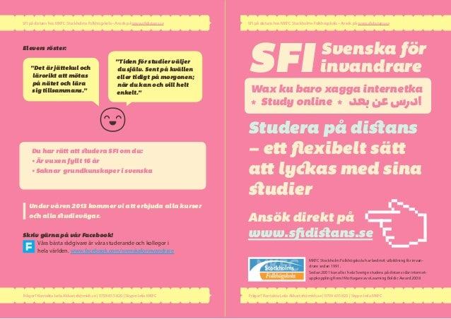 SFI på distans hos MKFC Stockholms Folkhögskola • Ansök på www.sfidistans.se    SFI på distans hos MKFC Stockholms Folkhög...