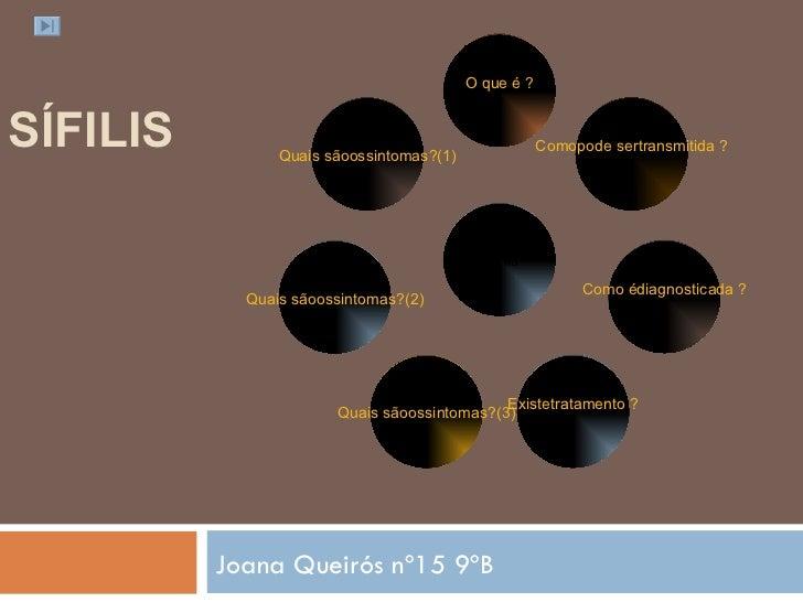 SÍFILIS  Joana Queirós nº15 9ºB Quais sãoossintomas?(1) Quais sãoossintomas?(2) Quais sãoossintomas?(3) Existetratamento ...