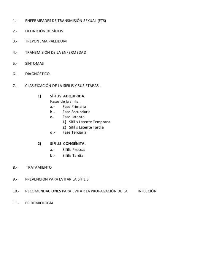 1.-ENFERMEADES DE TRANSMISIÓN SEXUAL (ETS) <br /> <br />2.-DEFINICIÓN DE SÍFILIS<br /> <br />3.-TREPONEMA PALLIDUM <br /> ...