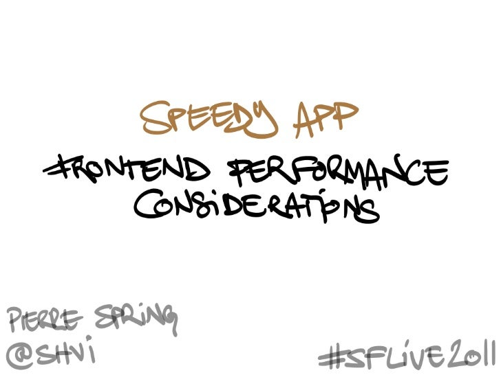 Speedy App: Frontend Performance Considerations