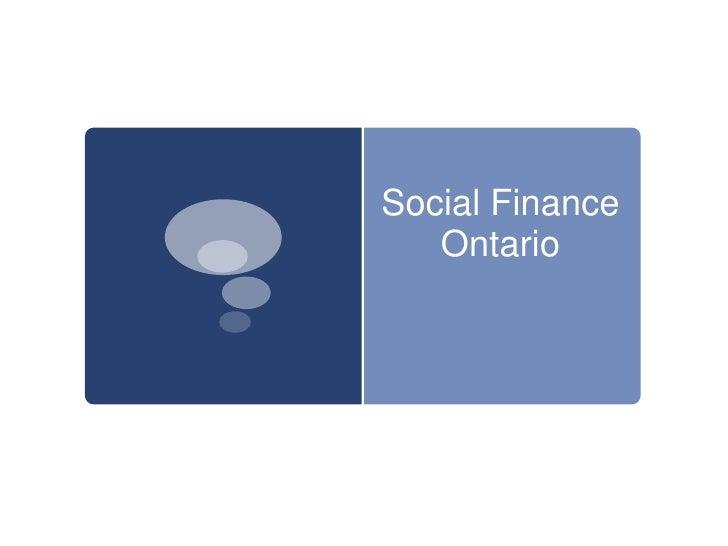 Social Finance    Ontario