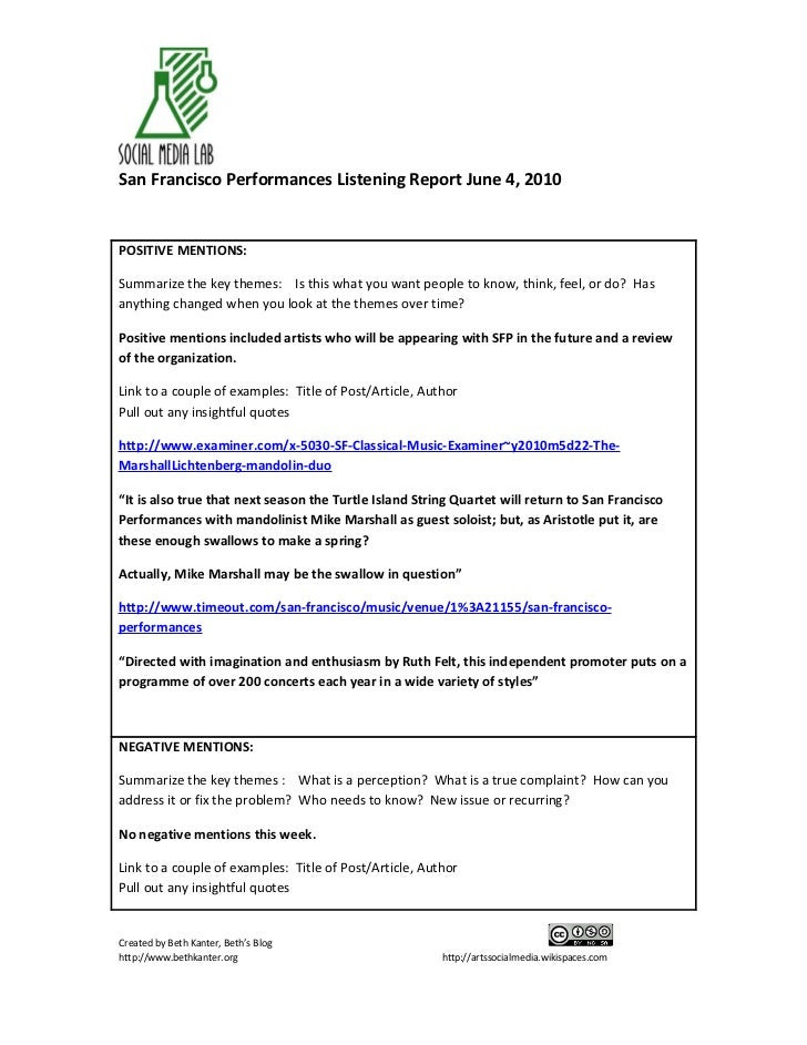 San Francisco Performances Listening Report June 4, 2010   POSITIVE MENTIONS:  Summarize the key themes: Is this what you ...
