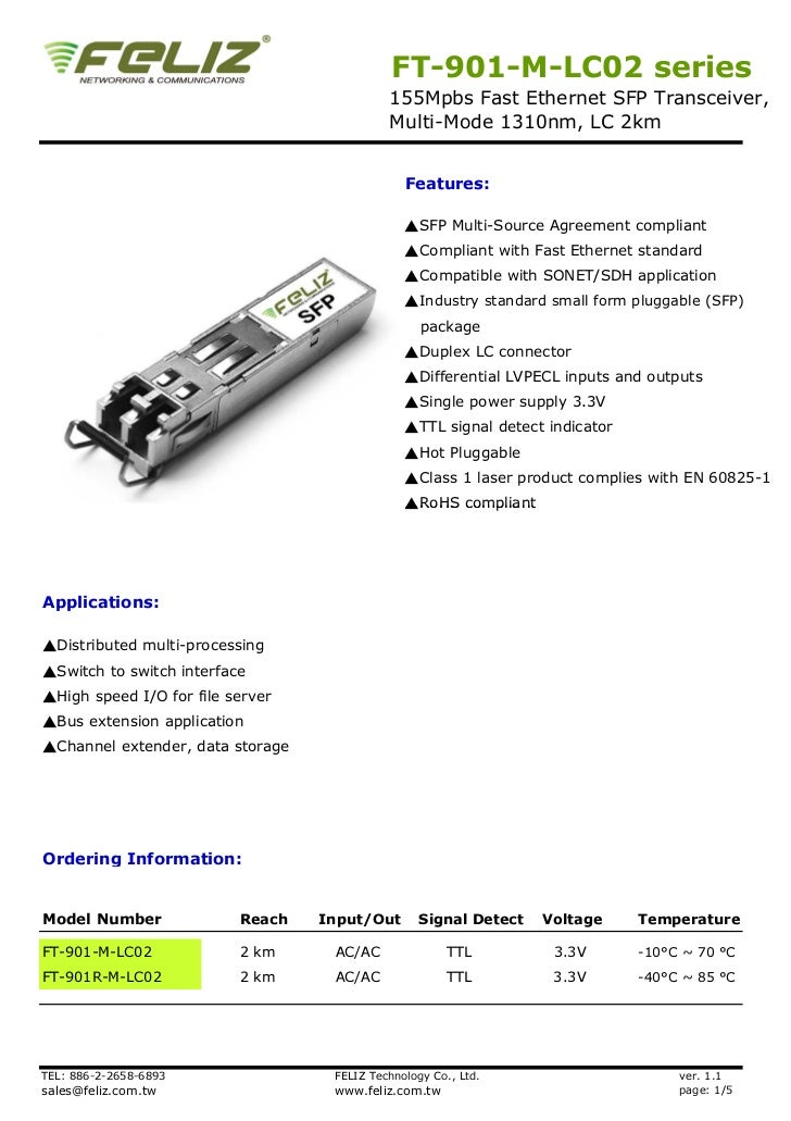 FT-901-M-LC02 series                                            155Mpbs Fast Ethernet SFP Transceiver,                    ...