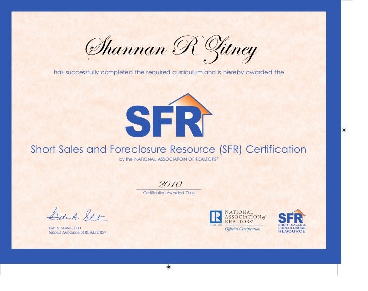 Short Sale and Foreclosure Resource Certified SFR