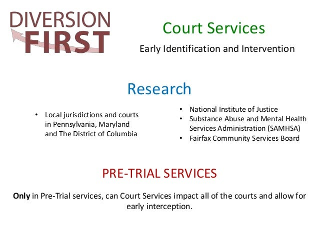 pretrial diversion Mission statement the mission of the seward county pretrial diversion program is to provide persons charged with criminal offenses in seward county an alternative to traditional criminal justice or juvenile justice procedures.