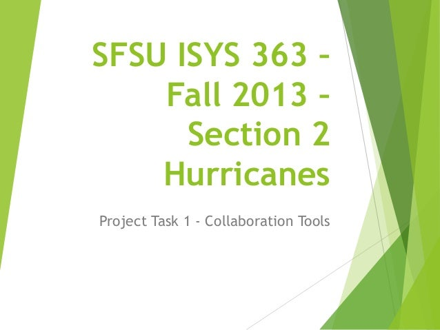 SFSU ISYS 363 – Fall 2013 – Section 2 Hurricanes Project Task 1 - Collaboration Tools