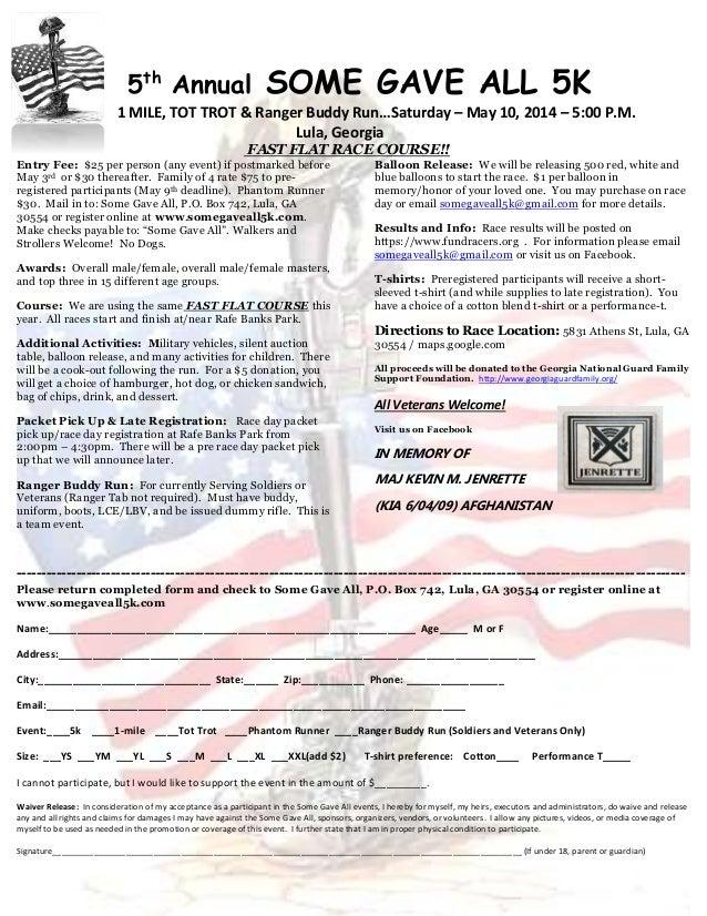"""""""Some Gave All"""" 5K - 2014 registration form"""