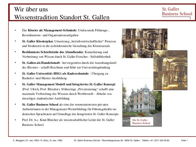 C. Abegglen, Dr. oec. HSG / N. Storz, lic. oec. HSG St. Galler Business School - Rosenbergstrasse 36 - 9000 St. Gallen - T...