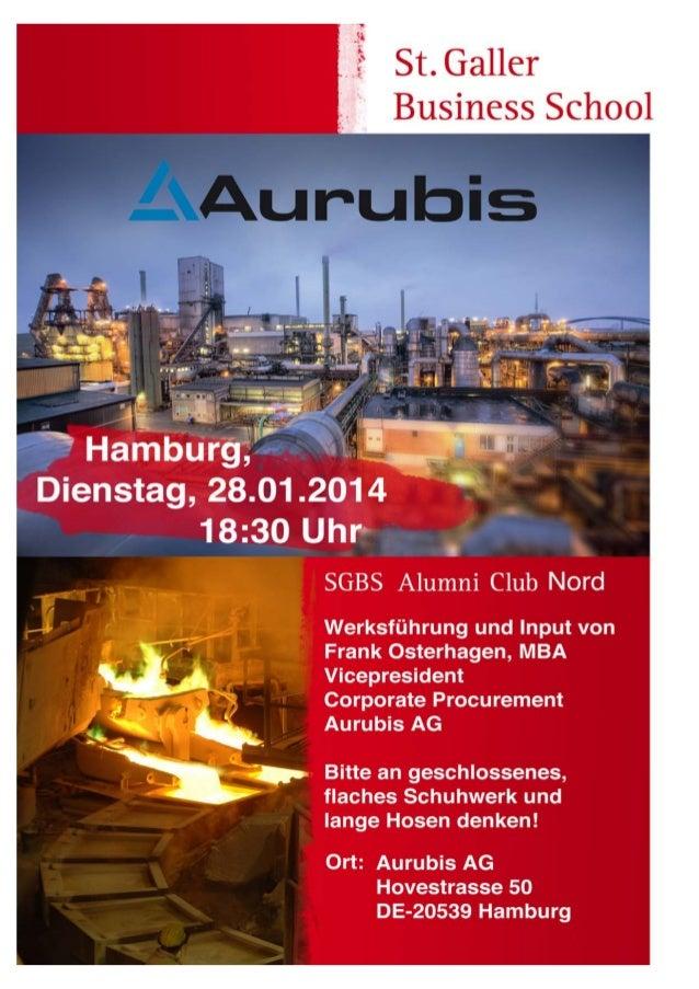 """SGBS Regio DE-Nord Anlass """"Zu Gast"""" bei Aurubis in Hamburg"""