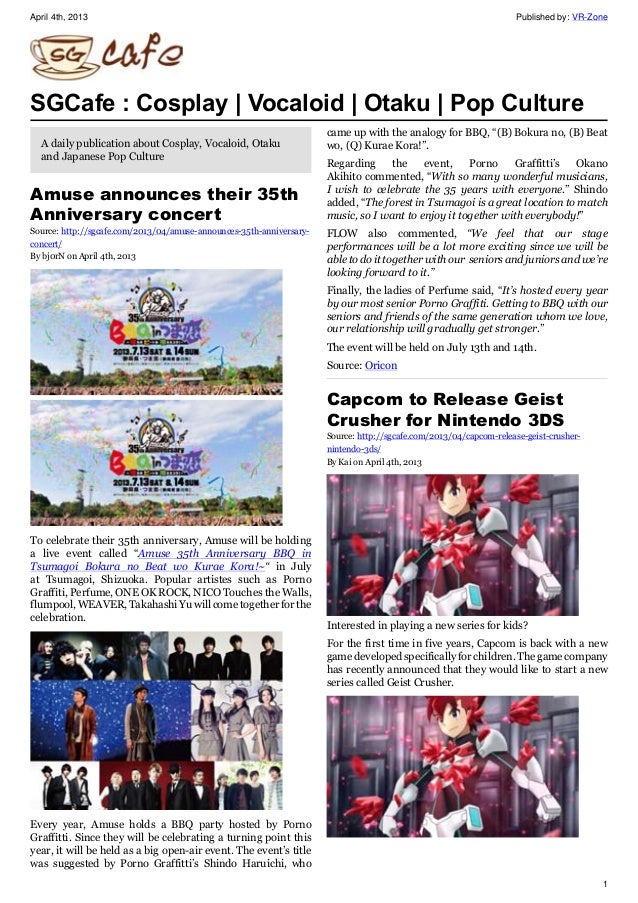 April 4th, 2013 Published by: VR-Zone 1 SGCafe : Cosplay | Vocaloid | Otaku | Pop Culture A daily publication about Cospla...
