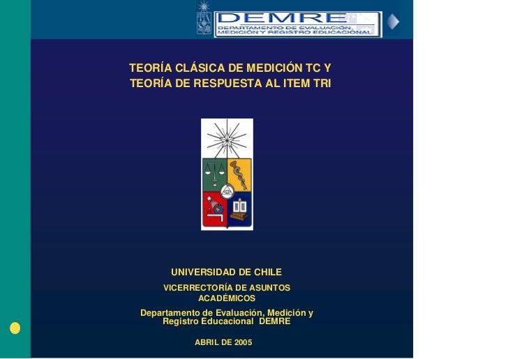 Teoría Clásica de Medición TC