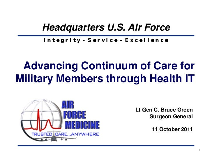 Headquarters U.S. Air Force     Integrity - Service - Excellence Advancing Continuum of Care forMilitary Members through H...